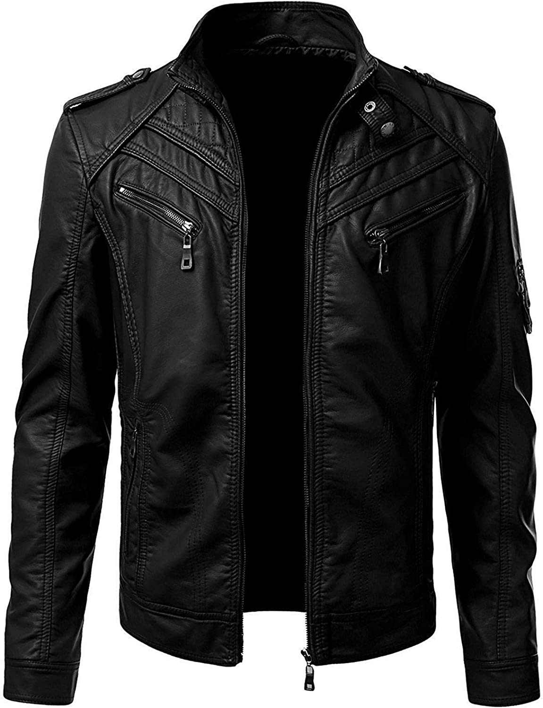 UZ Global Extravagant Look Lush Jacket Quality inspection Minneapolis Mall for Men Leather Black