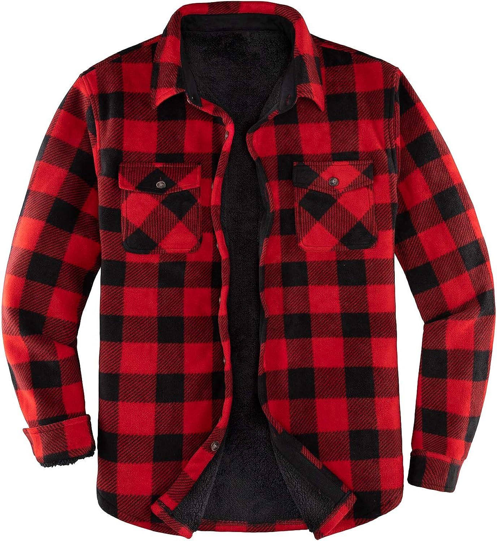 ThCreasa Mens Sherpa Fleece Lined Flannel Shirt Jacket Warm Button Down Plaid Shirt-Jac