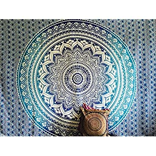 Indian Throw Hippie Gypsy Cover Bohemian Dorm Deco 100% Cotton Hand Printed Block Print Design Mandala Tapestry Wall Hanging Beach Bedspread by Raajsee 52x82 inches