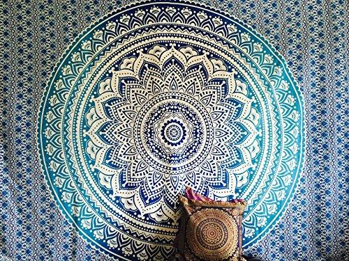 raajsee Indisch Wandteppich Mandala Ombre Tapestry Hippie Psychedelic Wandbehang,Elefant Boho Indischer Baumwolle Wand tucher Orientalisch, (Blaue Ombre, 140 x 210 cm Twin)