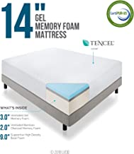 LUCID 14 Inch Memory Foam Mattress - Triple-Layer - 5.3 Pound Density Ventilated Gel Memory Foam - CertiPUR-US Certified - 10-Year Warranty - Twin with LUCID Encasement Mattress Protector - Twin