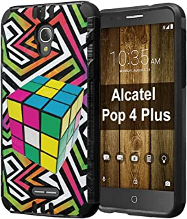Alcatel POP 4 Plus Case, Capsule-Case Hybrid Dual Layer Slim Defender Armor Combat Case (Black) Brush Texture Finishing for Alcatel POP 4 Plus 4G LTE - (Rubiks Cube)