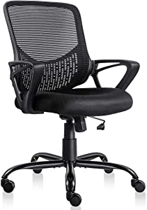 Ergonomic Office Desk Chair Adjustable Mesh Swivel Home Task Chairs with Padded Seat and Armrest Black