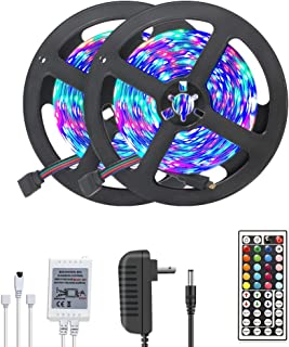 DAYBETTER Led Strip Lights 32.8ft Color Changing 3528 LED Light Strip Kit Only RGB Rope Light Color NO White Color with 12V Power Supply Non-Waterproof