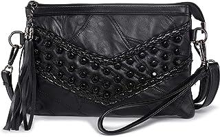 Kleine Umhängetasche Handtasche für Damen, LaRechor Weich Ledertasche Handy Abend Clutch Tasche mit Nieten Quaste (Schwarz)