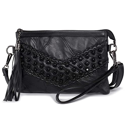 1f3bf54506 Suede Leather Small Cross Body Shoulder Bag Tassel Ladies Handbags Rivets Clutch  Bag Wristlet Evening Bags