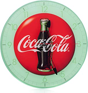 Mark Feldstein Coca Cola Bottle Round Vintage Red Button Logo 12 x 12 Glass Wall Clock
