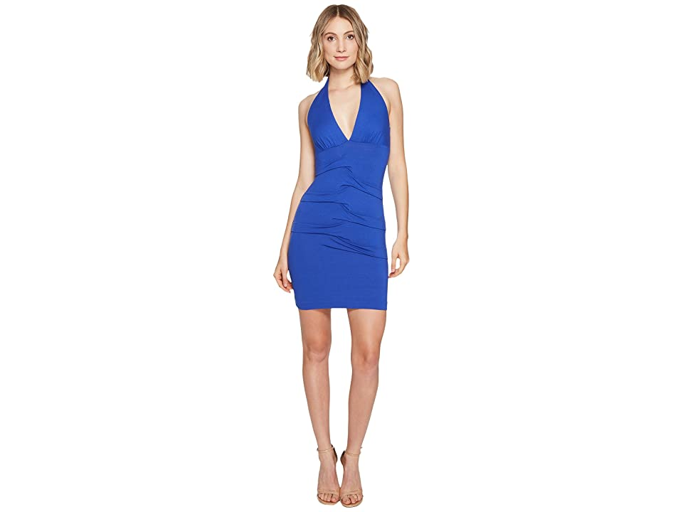 Nicole Miller Tidal Pleat Halter Dress (Egyptian Blue) Women