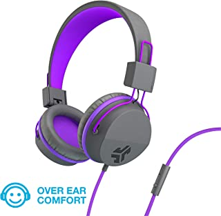 JLab Audio JBuddies Over-Ear Kids Wired Headphones | Toddler Headphones | Kid Safe | Studio Volume Safe | Volume Limiter | Folding | Adjustable | Noise Isolation | with Mic | Graphite/Purple