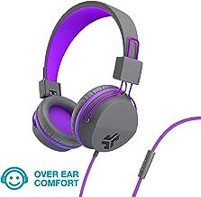 JLab Audio JBuddies Over-Ear Kids Wired Headphones   Toddler Headphones   Kid Safe   Studio Volume Safe   Volume Limiter   Folding   Adjustable   Noise Isolation   with Mic   Graphite/Purple