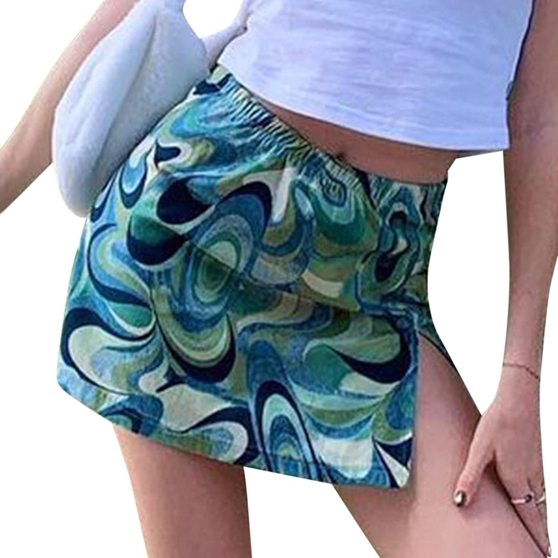 Hrsptudorc Women's Water Ripple Side Slit Skirt Women's Casual A-Line Skirt Green M
