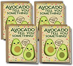 Oh Boy Love It Pregnancy Announcement Reveal Card, Scratch Off Avocado Lover 4 Pack w/ Kraft Envelopes | for Grandparents, Grandma, Aunt, Uncle | Having a Baby