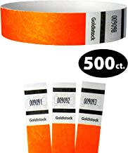 "Tyvek Wristbands - Goldistock Original Series Neon Orange 500 Count - ¾"" Arm Bands - Paper-Like Party Armbands - Heavier Tyvek Wrist Bands = Superior Events"