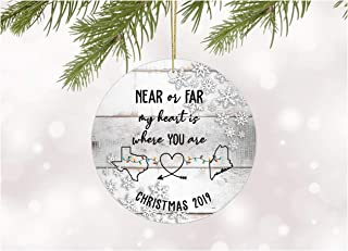 Christmas Ornament 2019 Texas Maine Near or Far My Heart Is Where You Are Long Distance Relationships Gifts For Couples Him Her Xmas Holiday as a Family Rustic Ceramic 3