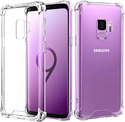 MoKo Samsung Galaxy S9 Case, Crystal Clear TPU Bumper Cover Reinforced Corners, Hard Anti-Scratch PC Transparent Back Panel Compatible Samsung Galaxy S9 5.8 Inch - Crystal Clear