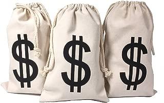 Drawstring Canvas Money Bag Dollar Sign