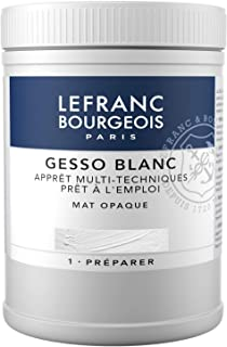 Lefranc & Bourgeois 300658Gesso, Blanco, universalgrundierung para colores acrílicos, listo para usar, mate opaco, opaco, para Lienzo, papel, piedra, madera, Yeso, 500ml olla