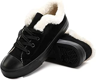 Women's Fur Lined Sneakers Plush Fashion Sneakers Suede...