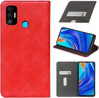 YLYT Business Shockproof - Red Flip Leather Retro Cover With Stand Wallet Case For Tecno Spark 7T 6.52 inch With Card Slots