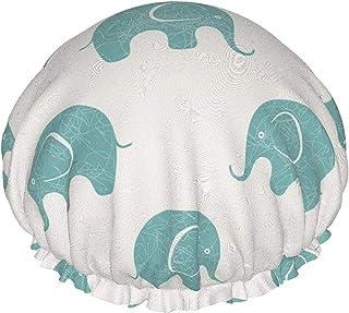 Czapka prysznicowa dla kobiet wodoodporny wzór słonia podwójna warstwa wielokrotnego użytku czapka do kąpieli do włosów, z...