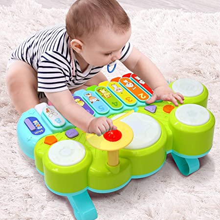 Ohuhu Juguete Musical del Bebé Mesa multifunción para niños, con Juegos de Tambor, Teclado de Piano para Descubrir y Tocar o xilófono. Juguetes de ...