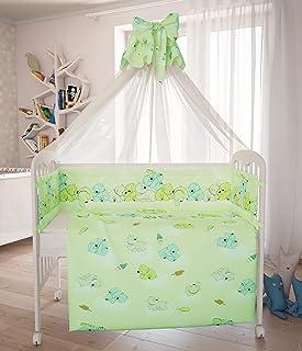 Polini Kids Baby Bett-Set Wäsche 120x60 Teddybär - Grün 7-tlg