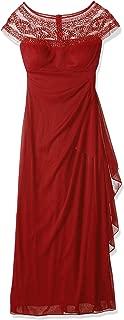 R&M Richards Women's One Piece Sleeveless Long Mesh Missy Beaded Yolk Gown