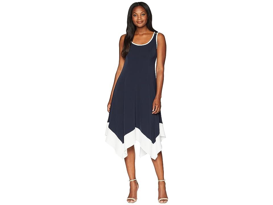Jones New York Sleeveless Long Handkerchief Hem Tipped Trim Dress (Navy) Women