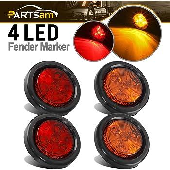 Partsam 10x Red 2 Round Sealed Clearance Marker Light 4LED Grommet /& Pigtails w Reflex Lens 2 inch round led lights 2 inch round led marker lights 2 inch round led trailer lights