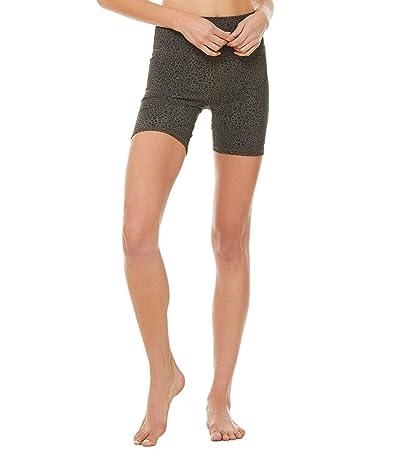 ALO High-Waist Vapor Leopard Shorts (Olive Branch) Women