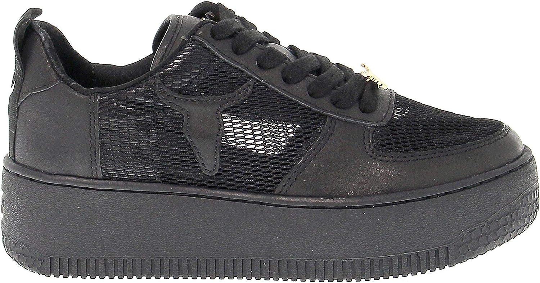 WINDSOR SMITH Women's Windracerrtn Black Leather Sneakers