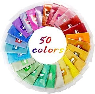 Mica Powder, POZEAN 50 Colors Resin Pigment Epoxy Resin Dye Resin Glitter, Perfect for Soap Making, Painting, Bath Bomb DI...