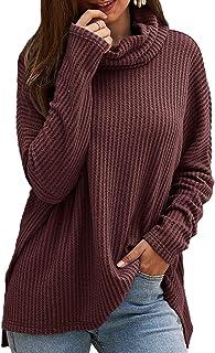 CNFIO Jersey Punto Mujer Invierno Cuello Alto Redondo Jerseys Camiseta Manga Larga Sueter Mujer Suelto Jerseys Basico Casu...