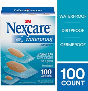 Nexcare Waterproof Clear Bandages, Tough, Assorted Sizes, 100 Count