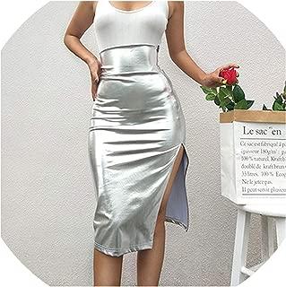 camellia store Falda de Cintura Alta Bodycon Midi con Cierre para Mujer, Falda de Fiesta con Purpurina Plateada