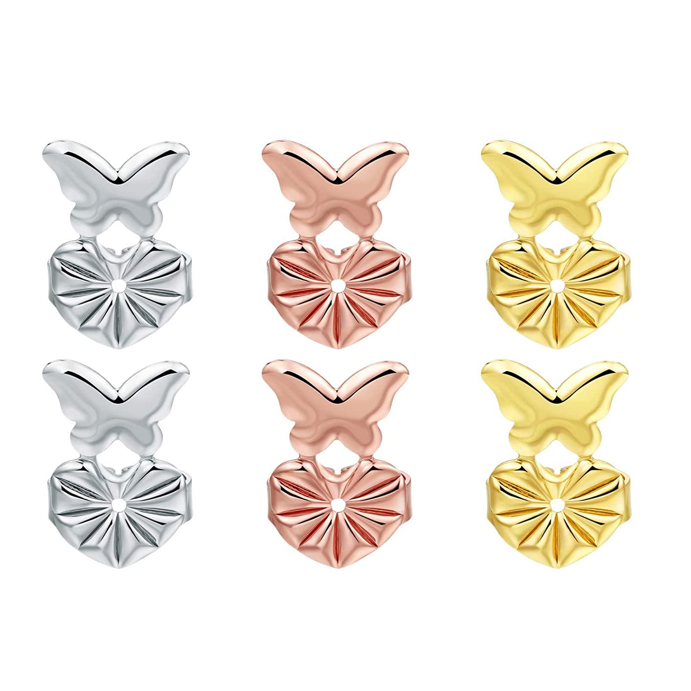 Earring Backs Adjustable Earring Lifts Butterfly Shape Safety Earring Backs Gift for Women(Silver/Gold/Rose Gold)