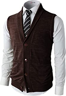 H2H Mens Casual Slim Fit Kniited Sweater Vests V-Neck Button-Down Shawl Collar Pockets