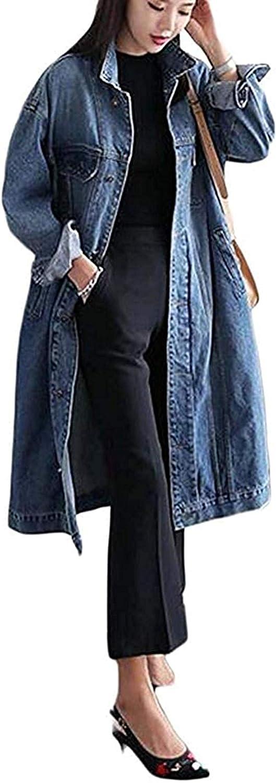 Women's Plus Size Trench Coat Long Loose Overcoat Jean Denim Jacket