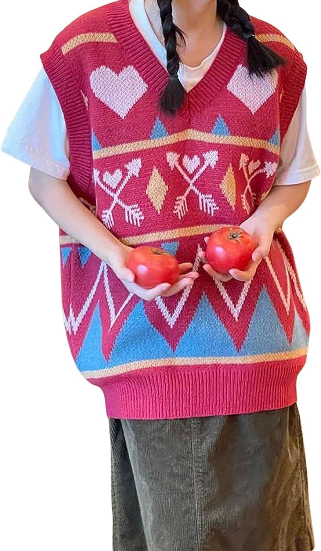 Women Classic Oklahoma City Mall OversizedV-neck Sweater Vest Heart Arrow Leisure Creative
