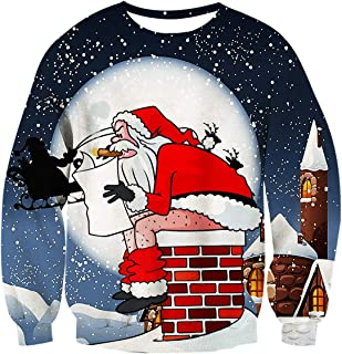 2f2586435 uideazone Unisex 3D Impreso Feo Navidad Jersey Sudaderas Navidad Camiseta