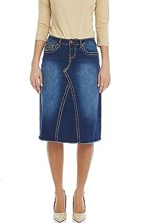 Esteez Women's Denim A-Line Skirt - Saddle Stitch - Stretch Jean - Victoria