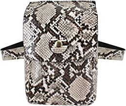 MEGA Women Snakeskin Pattern PU Waist Pack Small Leather Cell Phone Pocket Pouch Grey