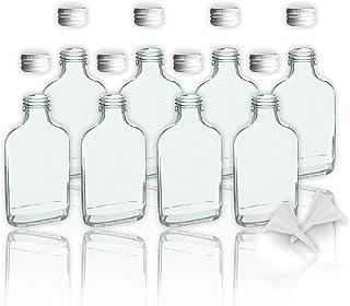 8 botellas de cristal 100 ml con tapa a rosca + 2 mini
