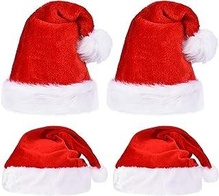 5563d63d53c 4 Piezas de Sombrero de Papá Noel de Navidad, Incluye Gorra de Navidad de  Felpa