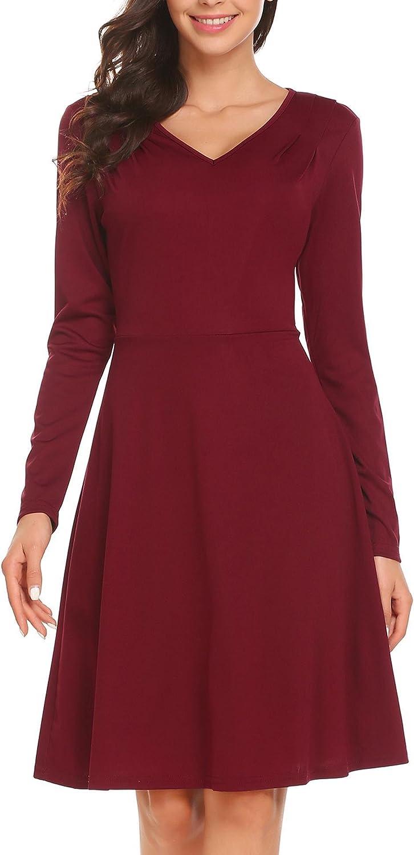 BURLADY Women's Casual Long Sleeve Velvet Solid ALine Pleated Hem Sexy Swing Dress