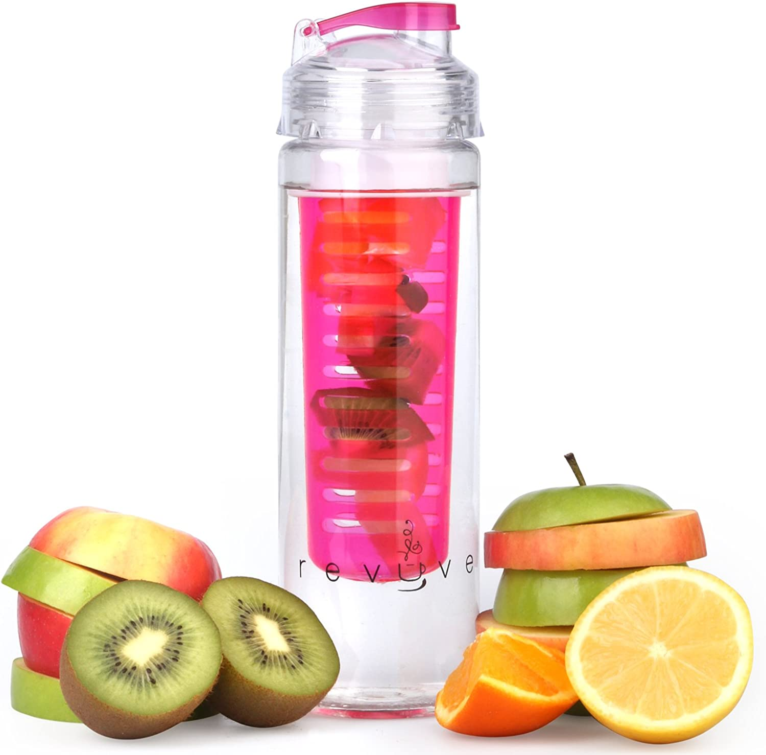Revyve Infuser Water Bottle 23.6 Ounce  for Infused Hydration  BPA Free, Tritan Plastic, Fruit Infusion