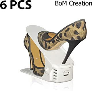 White Edition Shoe Slots (6 Pack) - Adjustable Shoe Organizer Space Saver
