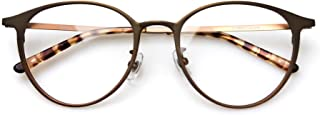 Komehachi - Ultra Light Slim Round Metal RX-Ready Clear Lens Eyeglasses Frame