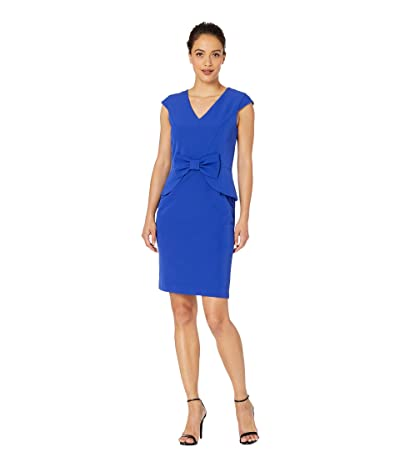 Tahari by ASL Petite Cap Sleeve Stretch Crepe Dress with Bow Detail (Royal) Women