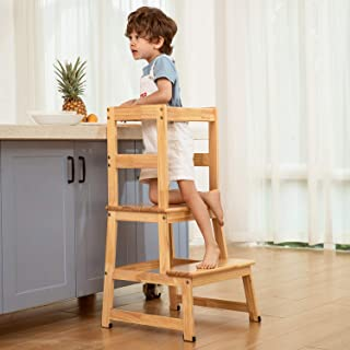 Kitchen Helper Step Stool for Kids and Toddlers with Safety Rail Children Standing Tower for Kitchen Counter, Mothers' Hel...